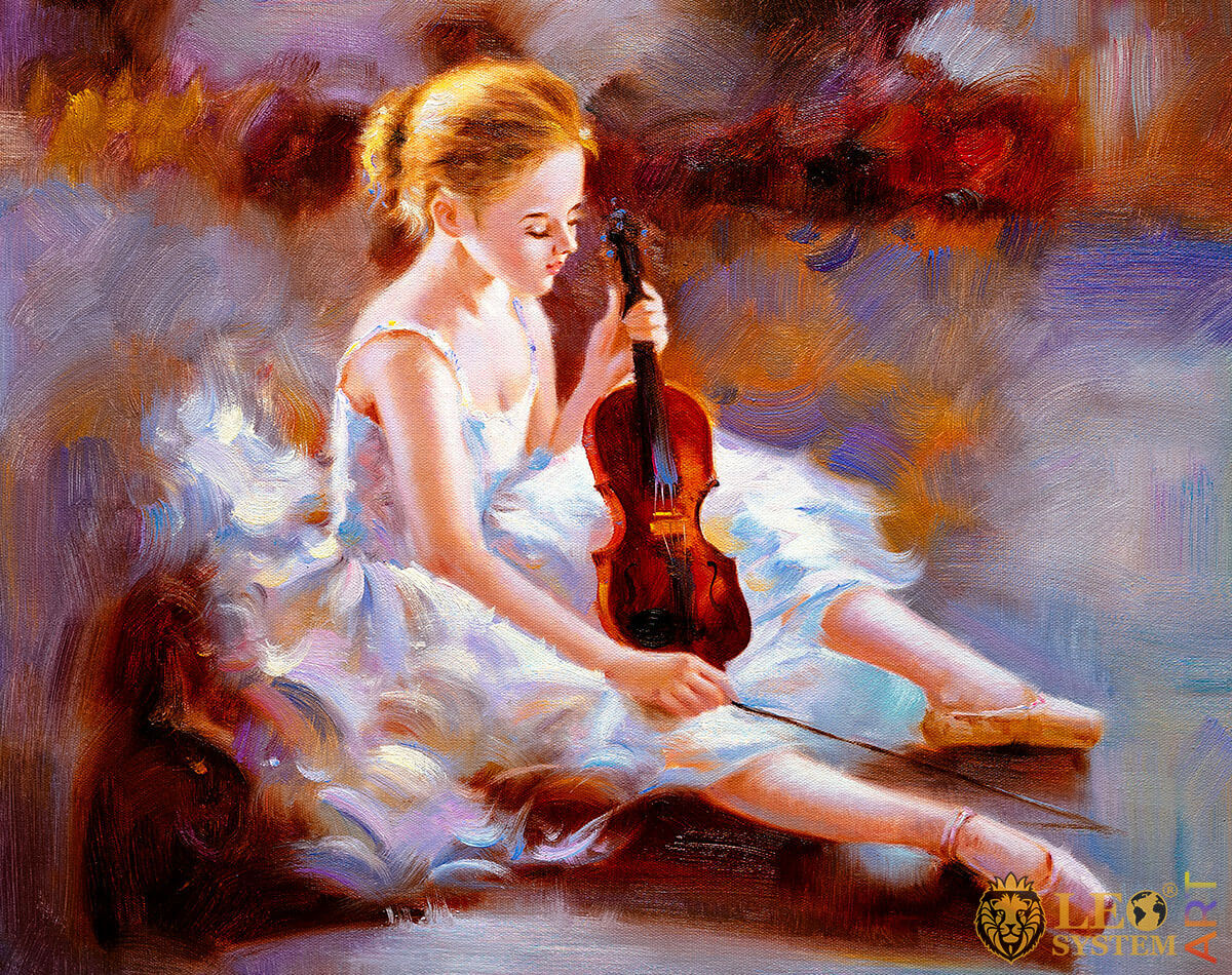 Painting with a magnificent ballerina holding a violin in her hands
