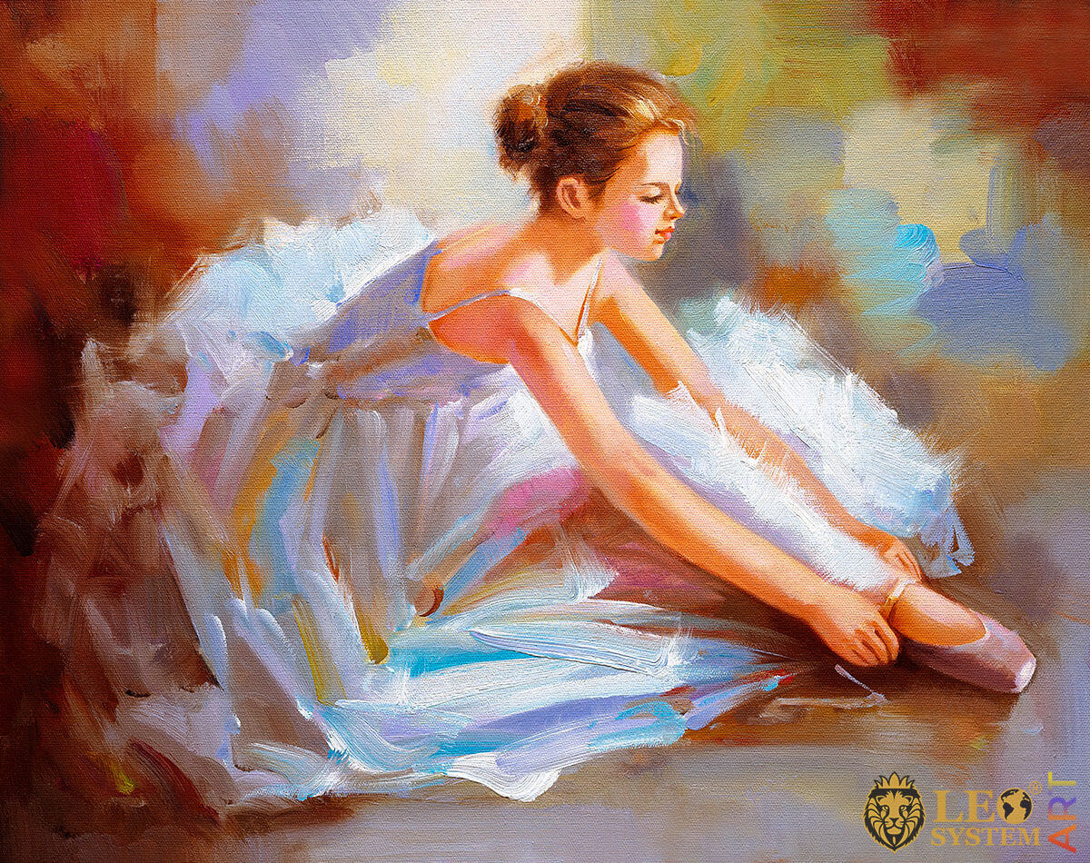 Oil painting with a pretty ballerina