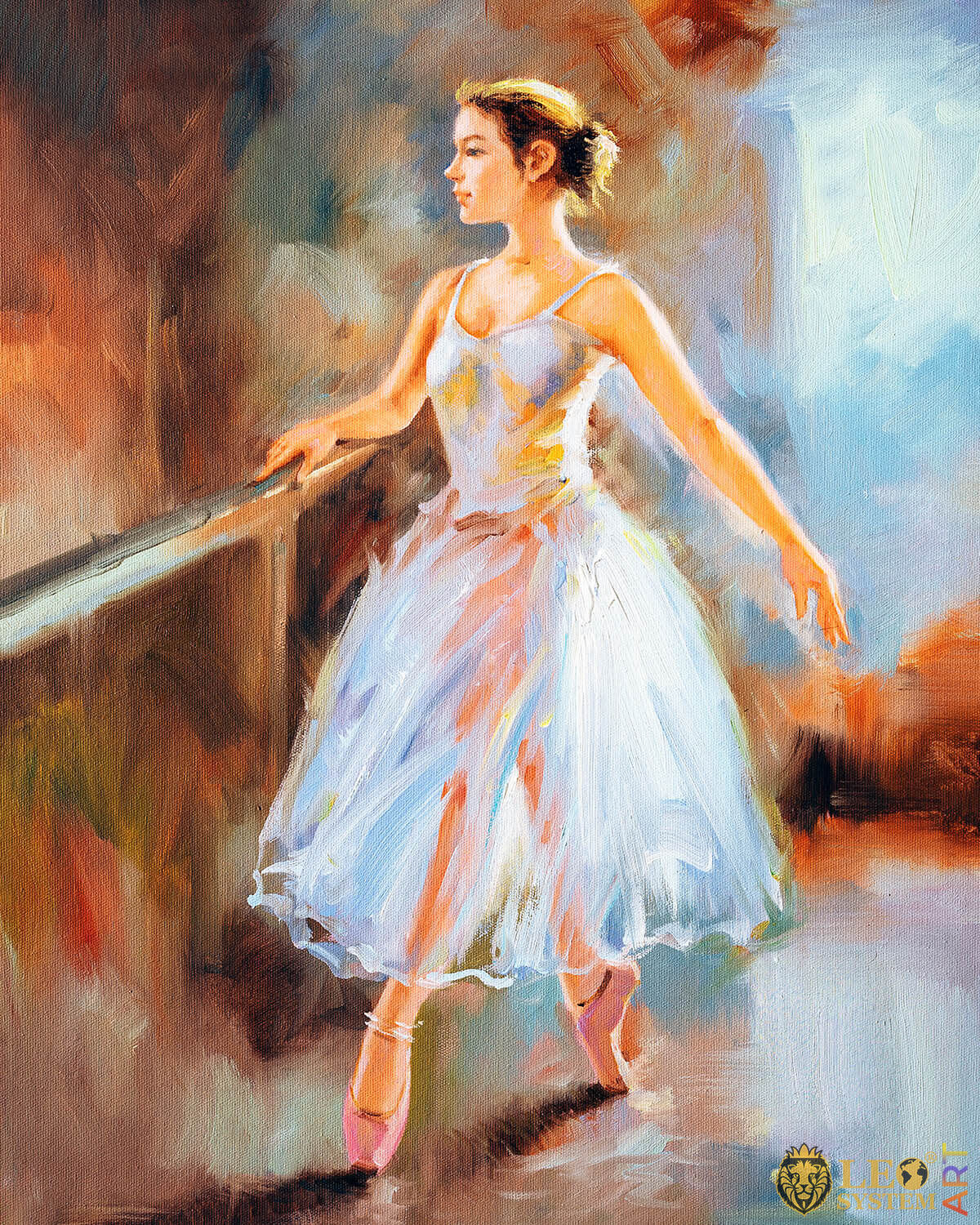 Attractive ballerina walks in pointe shoes, original oil painting