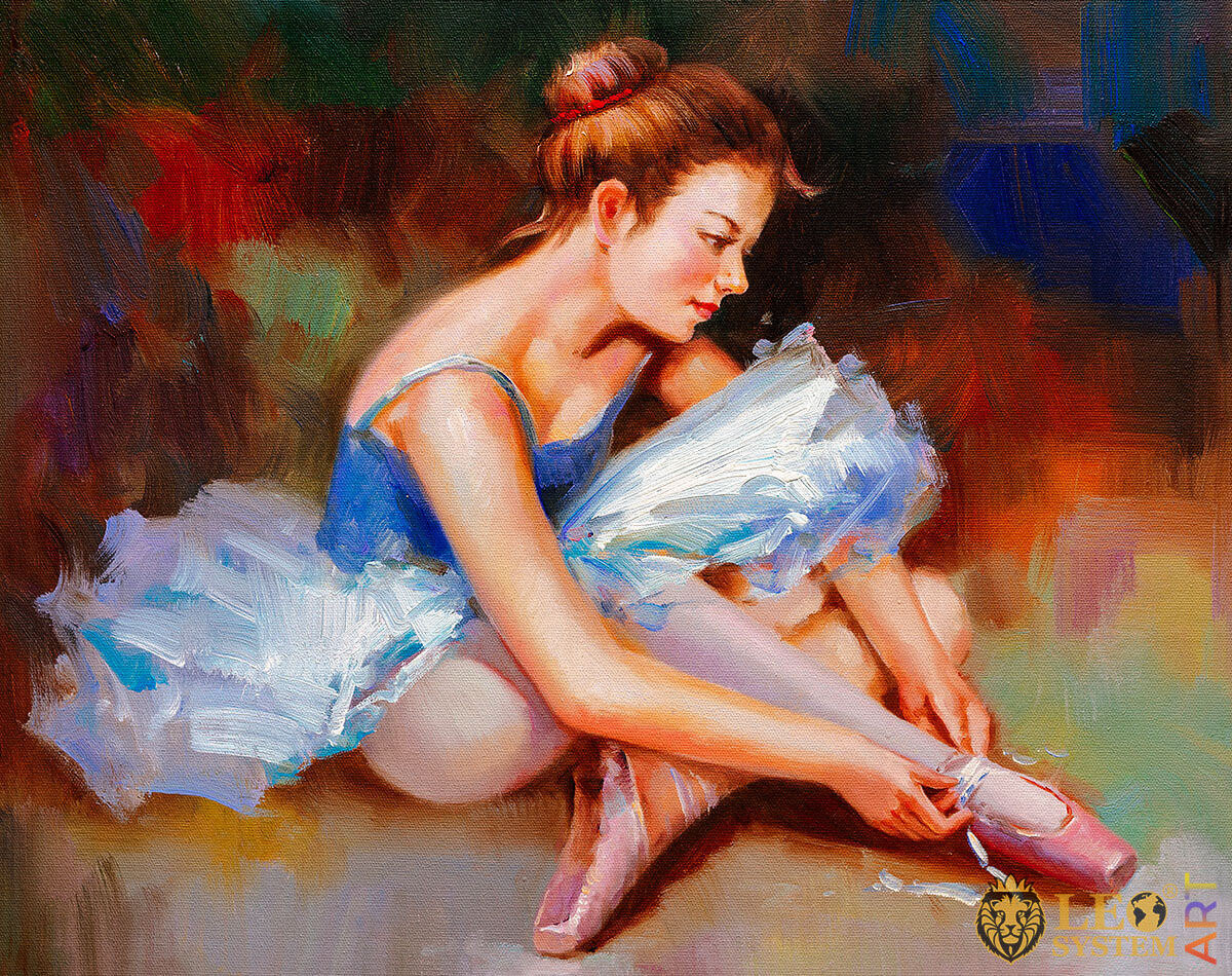 Oil painting ballerina putting on her ballet flats