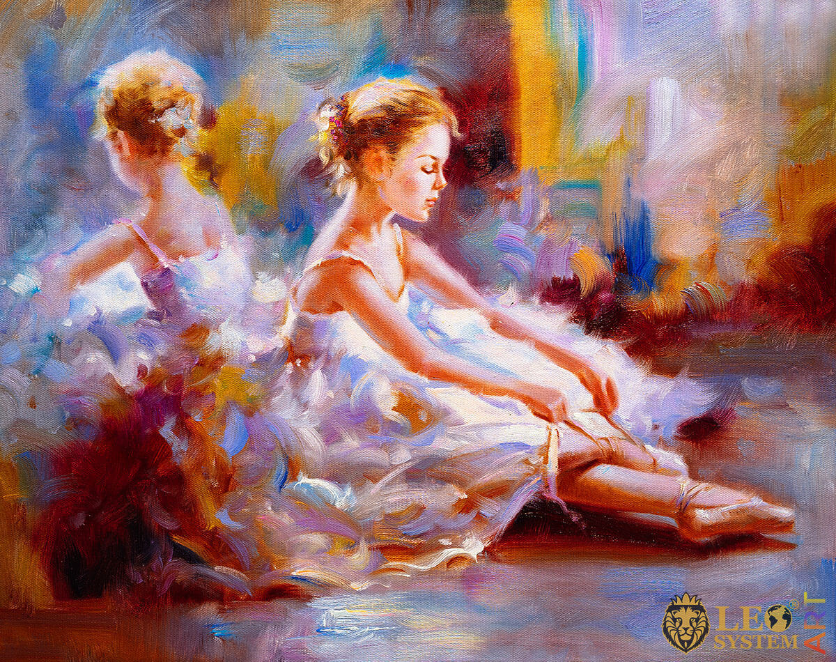 Beautiful ballerina dressing her pointe shoes, oil painting