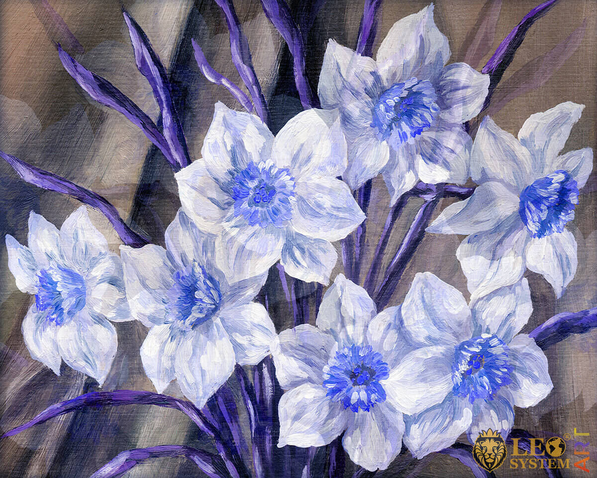 Painting with white and blue flowers