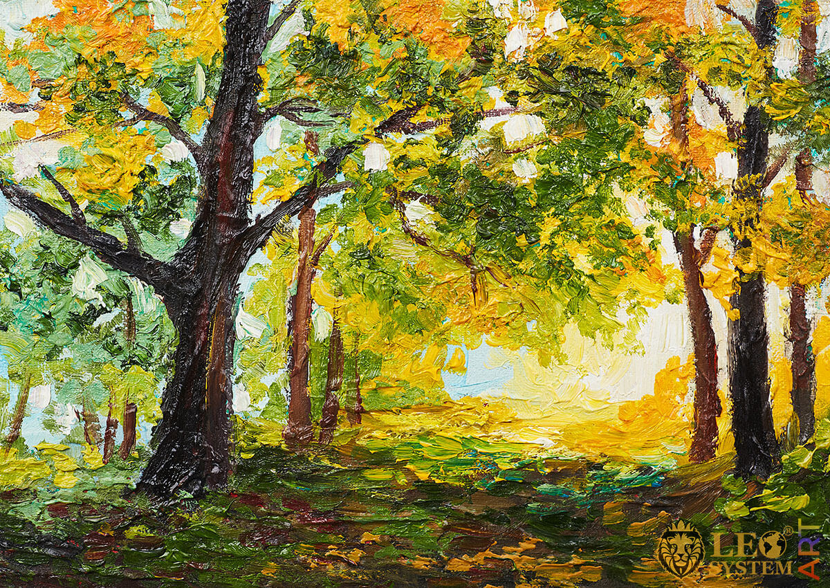 Painting with trees in the forest