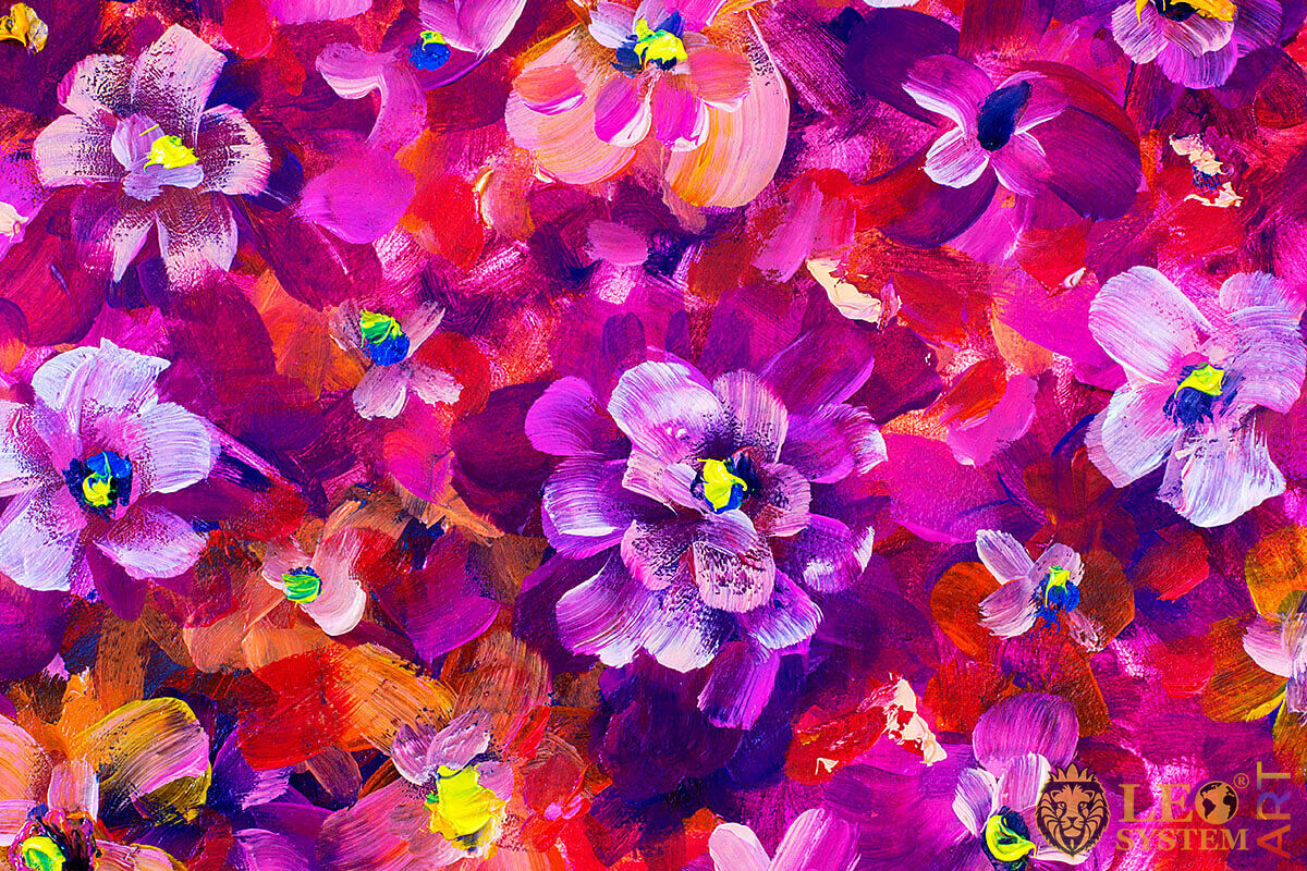 Many beautiful violets, original painting