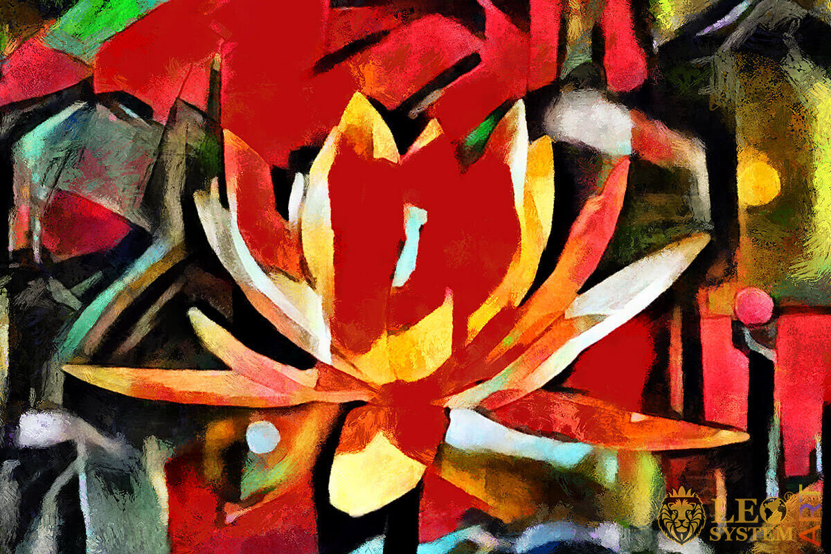 Original oil painting with lotus flower