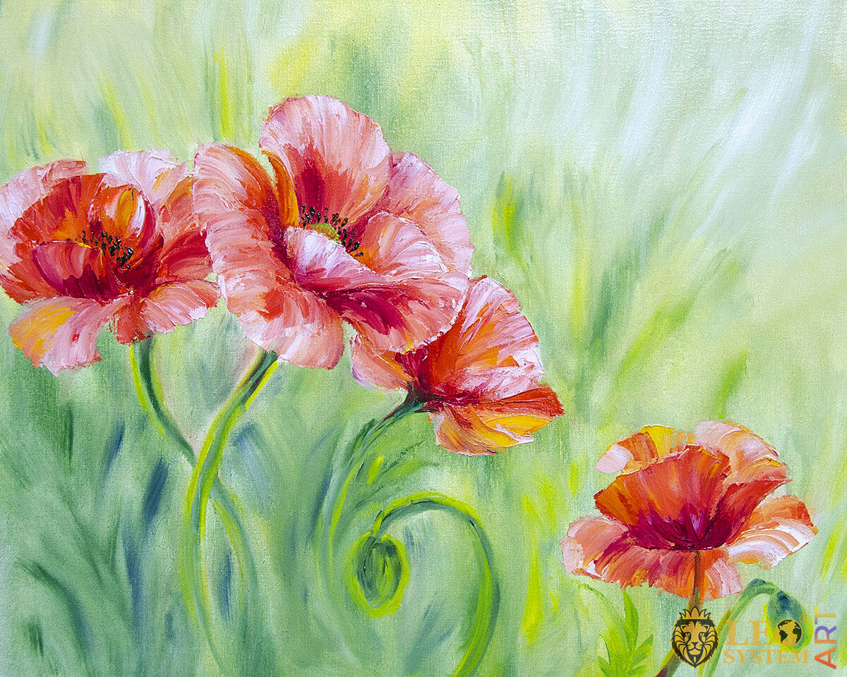 Oil painting with poppies, original canvas