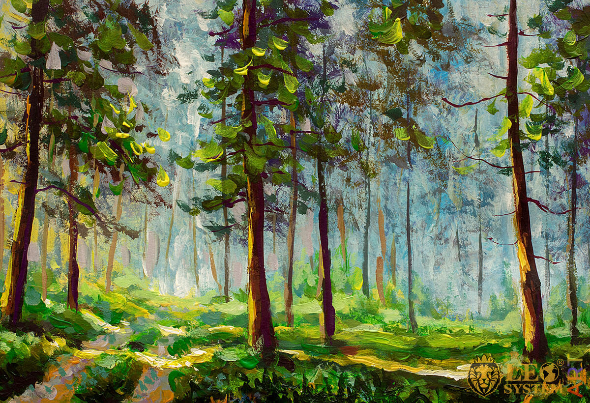 Painting with green trees in the forest