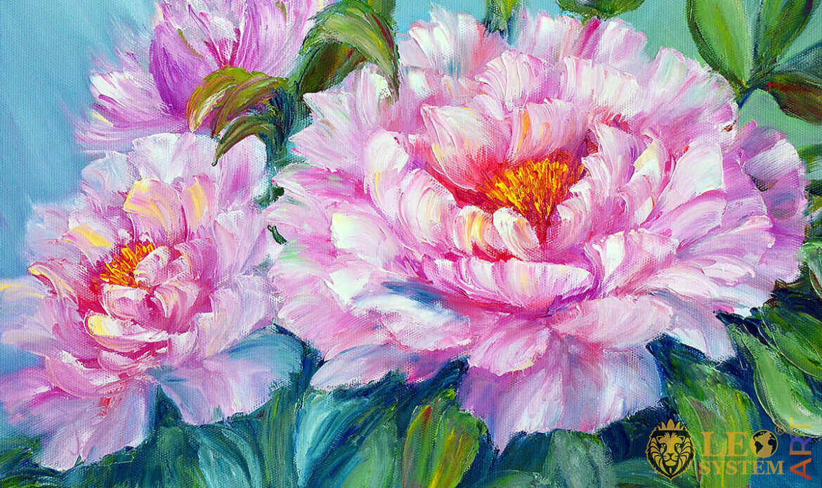 Oil painting on canvas with beautiful peonies