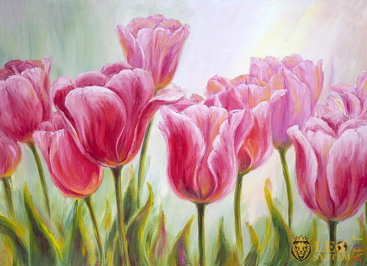 Amazing pink tulips, original painting