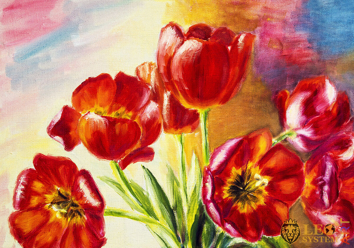 Oil painting with red tulips