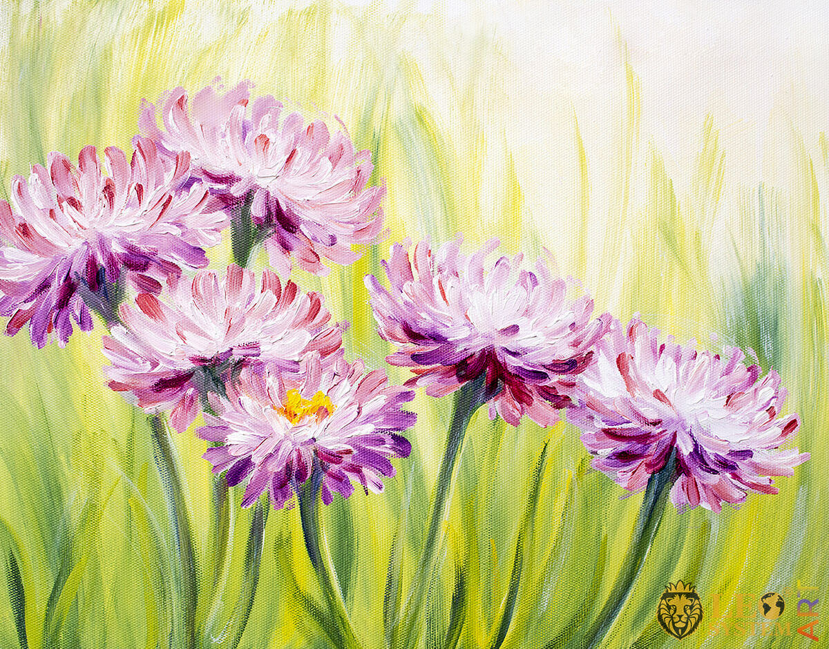 Beautiful wild daisies, oil painting