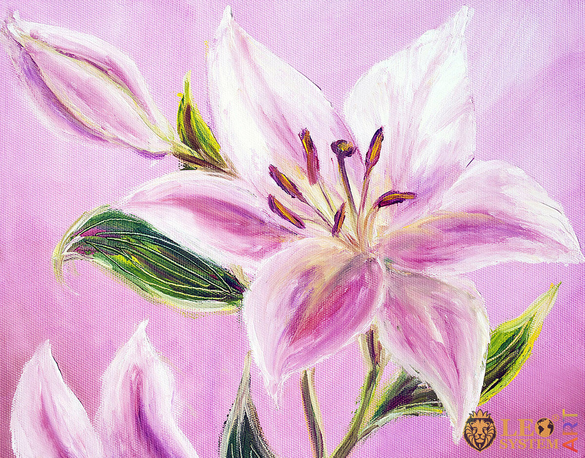 Lovely pink lily, original oil painting on canvas