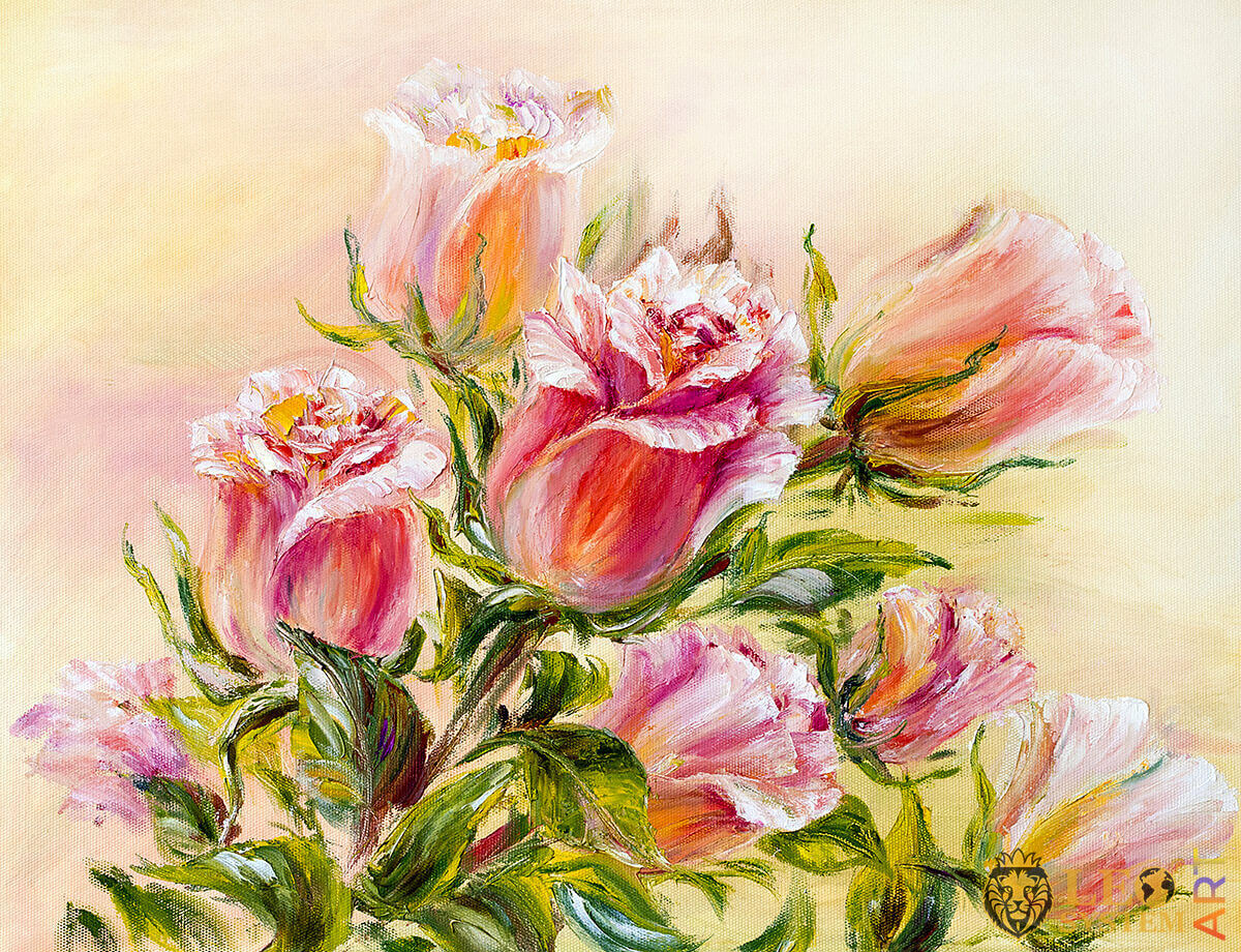 Delicate scarlet roses, oil painting on canvas