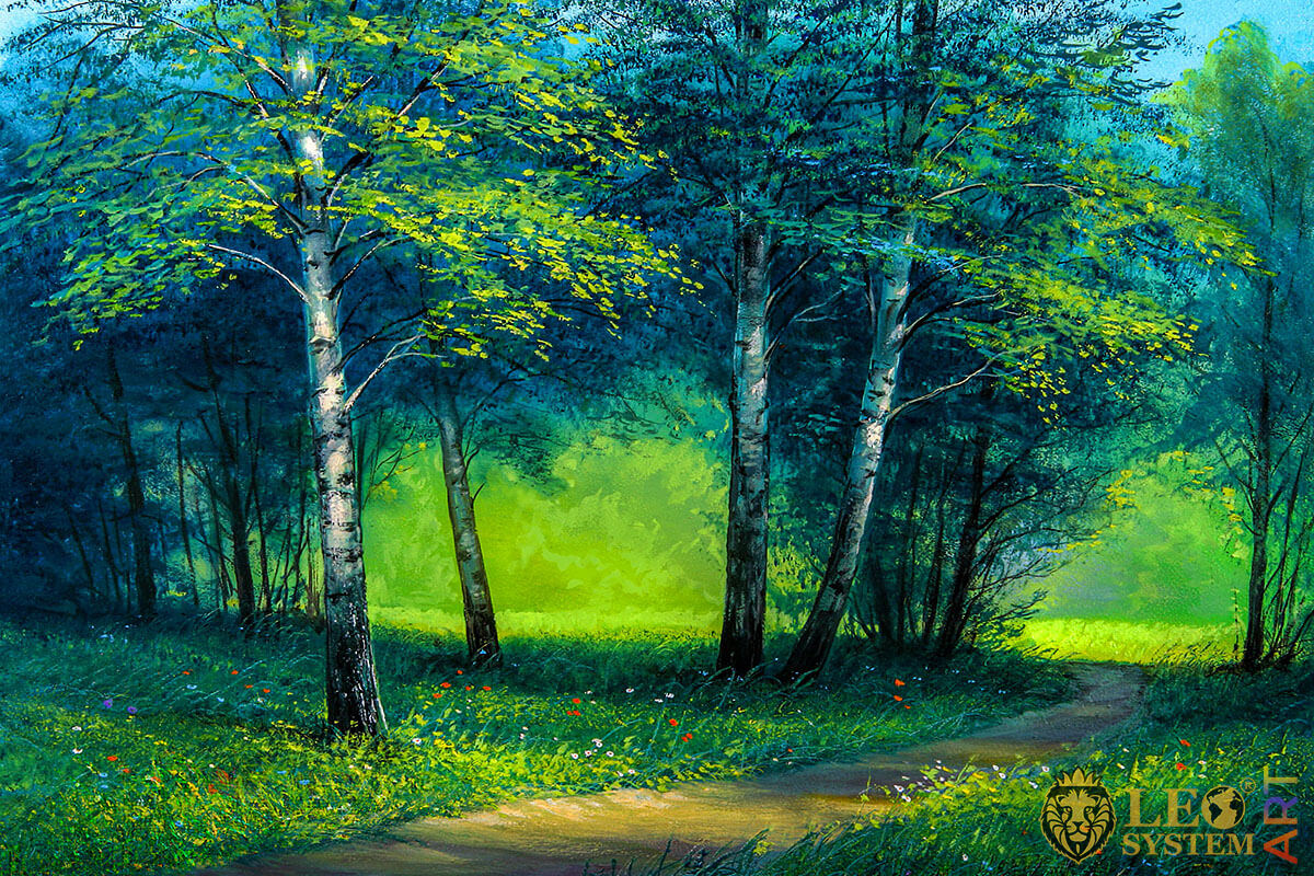 Painting with a winding path in the forest