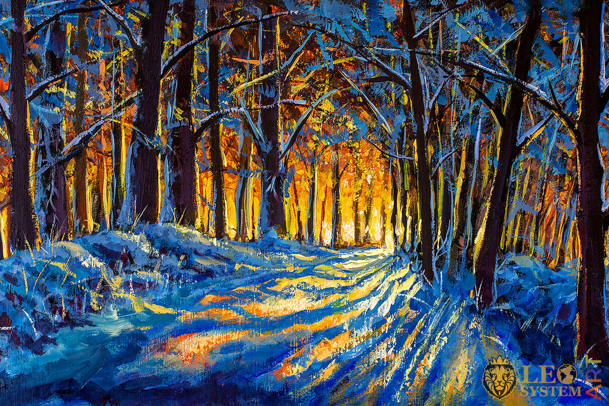 Winter landscape in the evening forest, oil painting