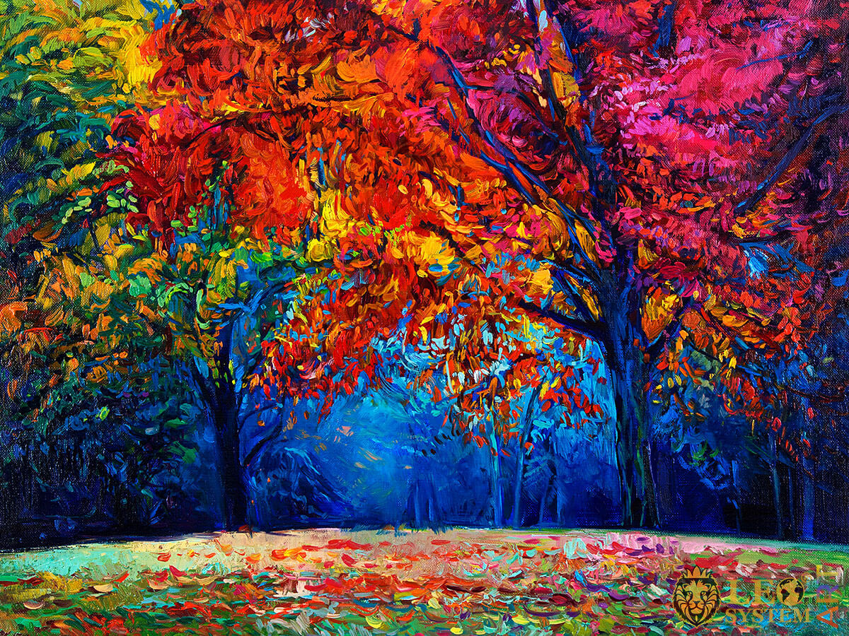 Painting with a forest landscape and many trees