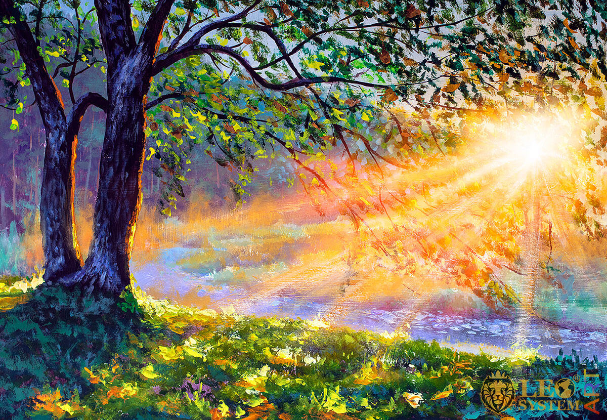 Sunny morning in the forest, original painting