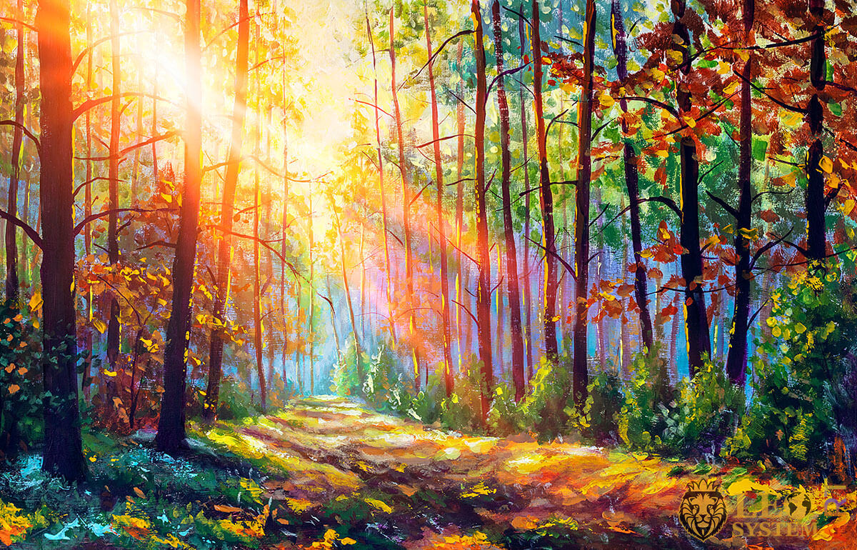 Bright morning sunlight through the leaves of the trees in the forest, original painting