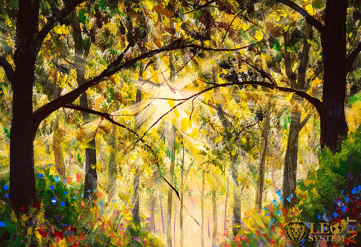 The sun breaks through the trees in the forest, original painting