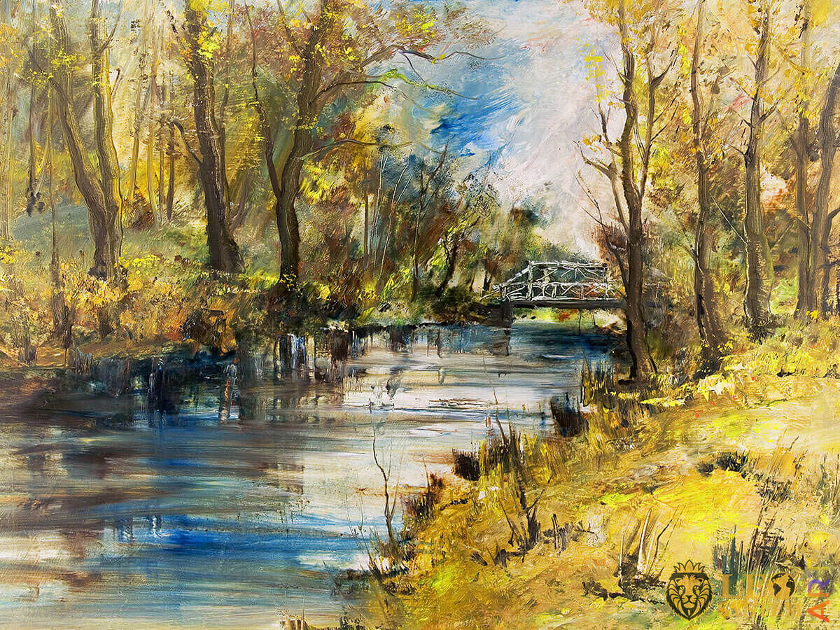 Dense forest and bridge in the forest, original painting