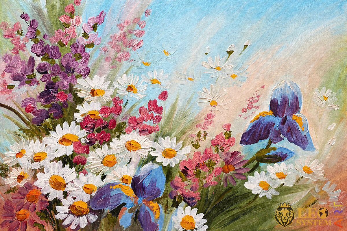Oil painting with various wildflowers