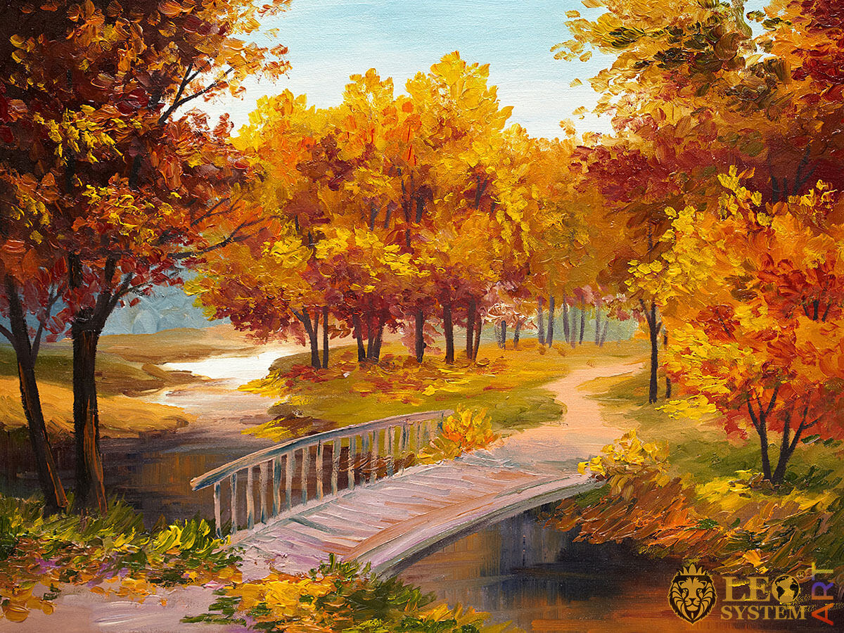 Trees with yellow foliage and wooden bridge, oil painting