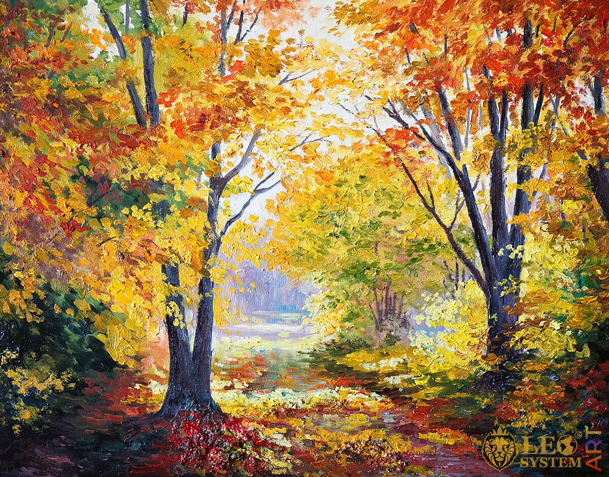 Autumn forest landscape, oil painting on canvas