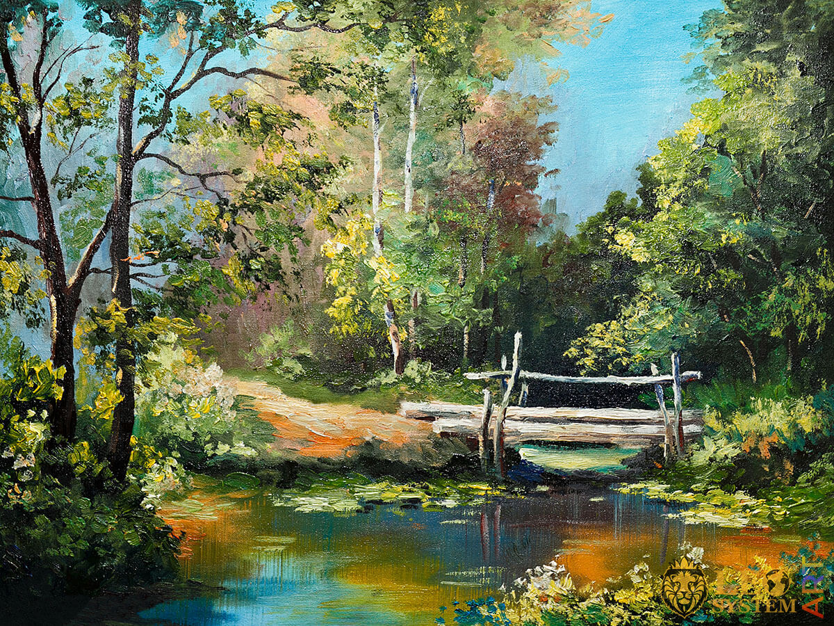 Dense forest and wooden bridge, original oil painting on canvas