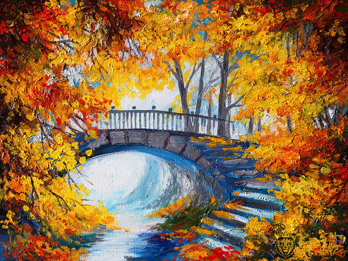 Beautiful painting with a winding bridge in the forest