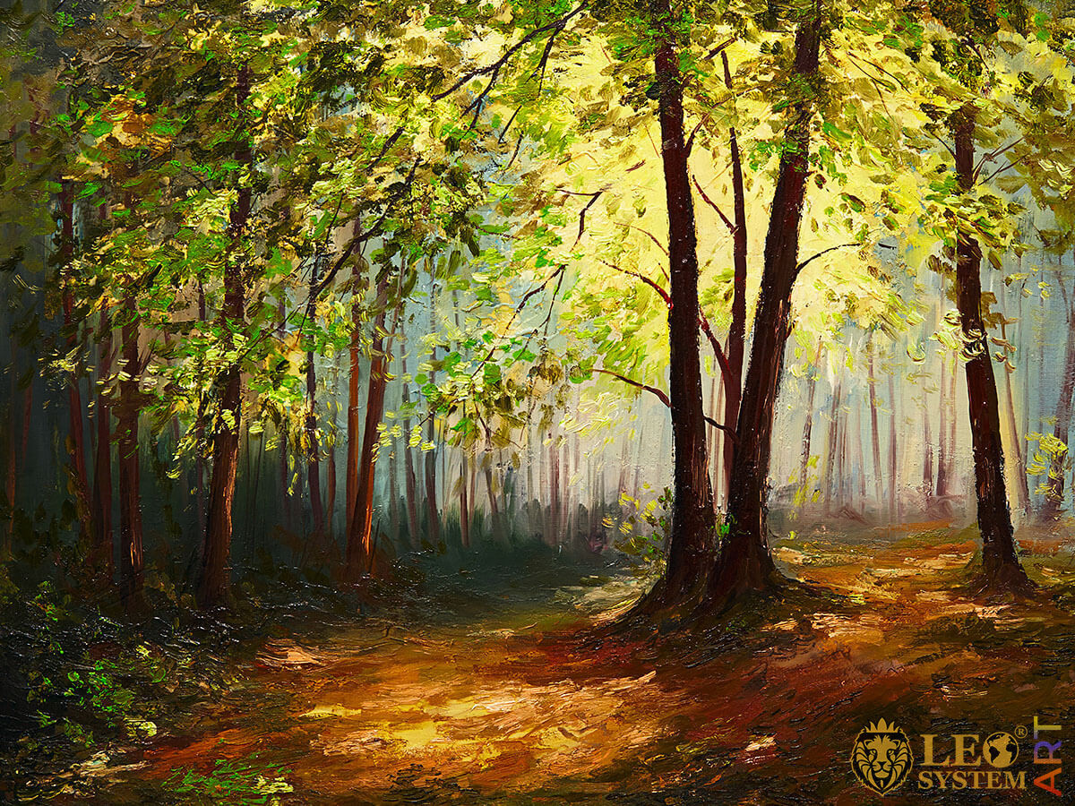 Painting with magnificent forest landscape