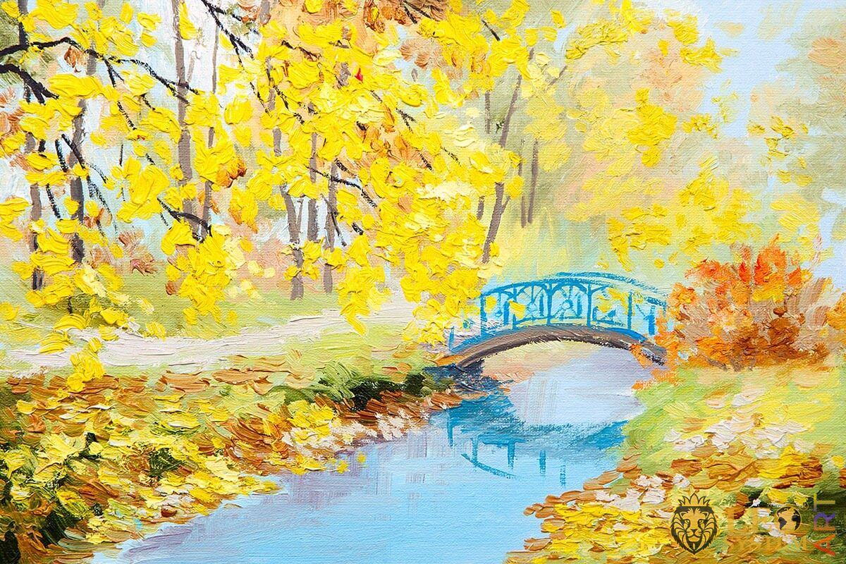 Original painting with yellow leaves and a bridge in the forest
