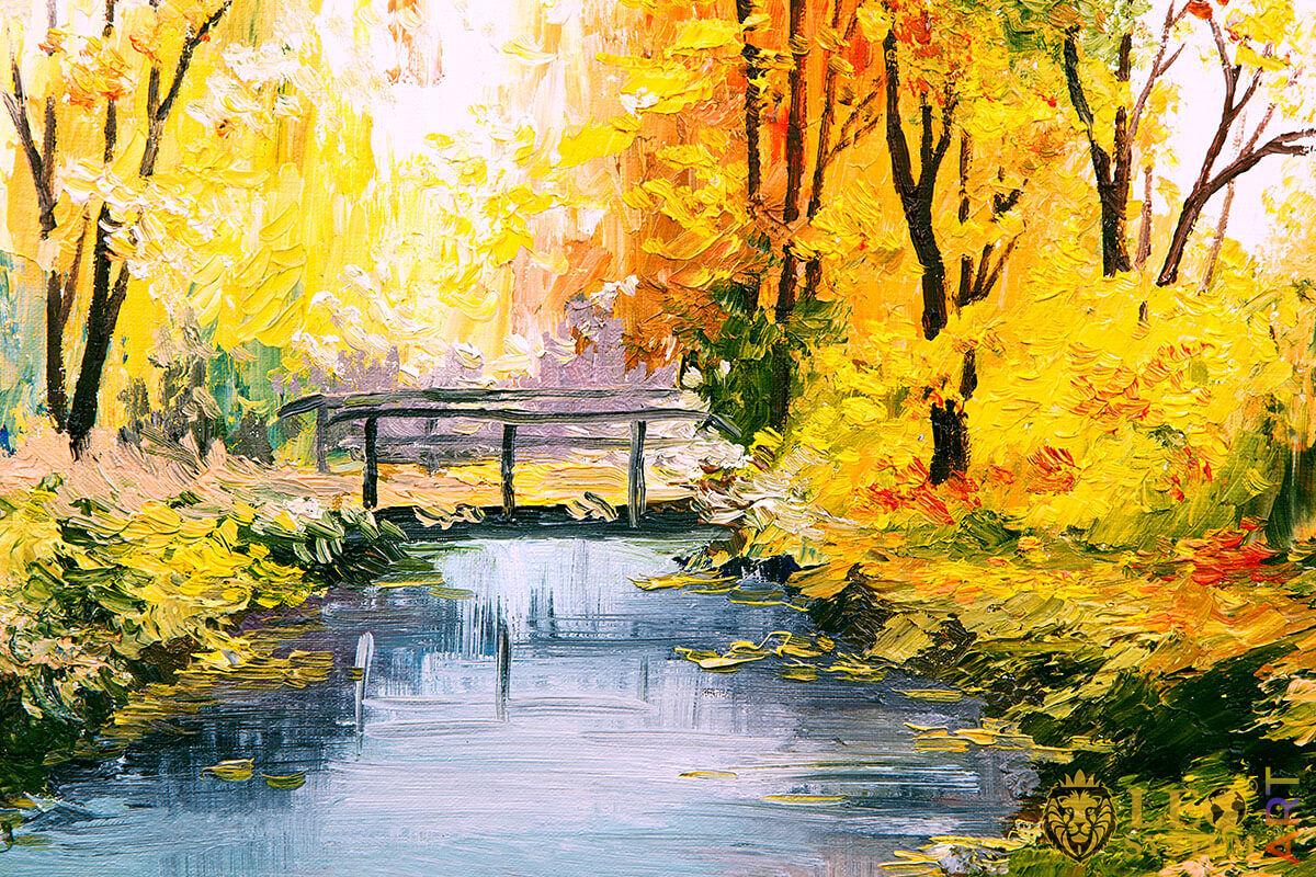 Original oil painting with a bridge in the forest