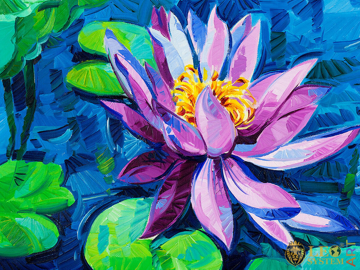 Wonderful water lily, original oil painting
