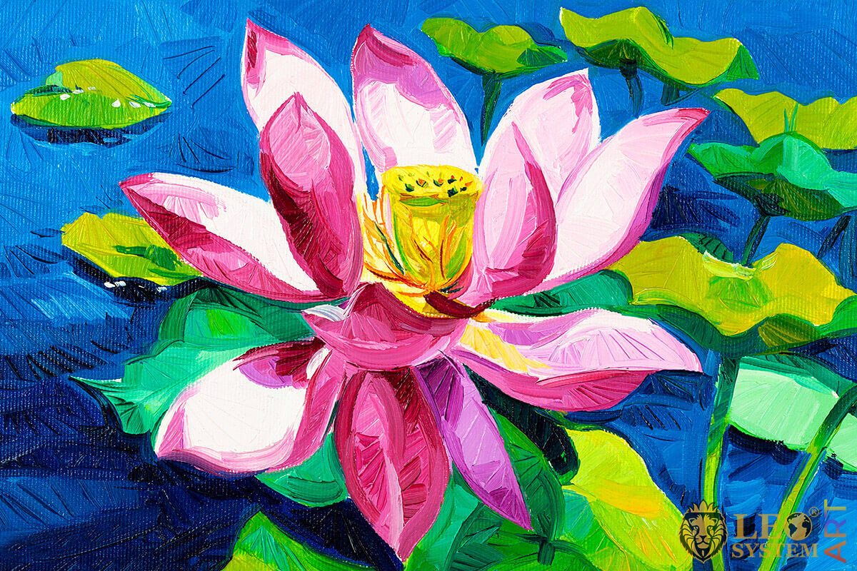 Oil painting with gorgeous water lily