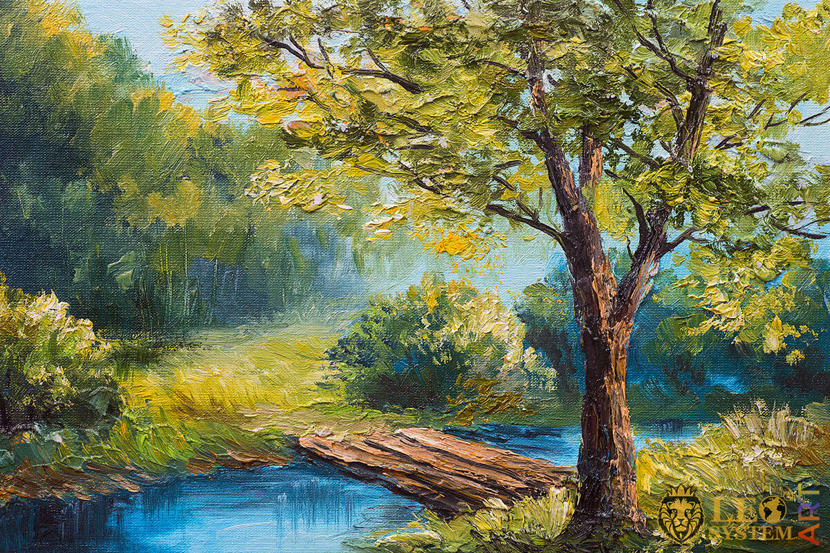 Painting with a wooden bridge in the forest