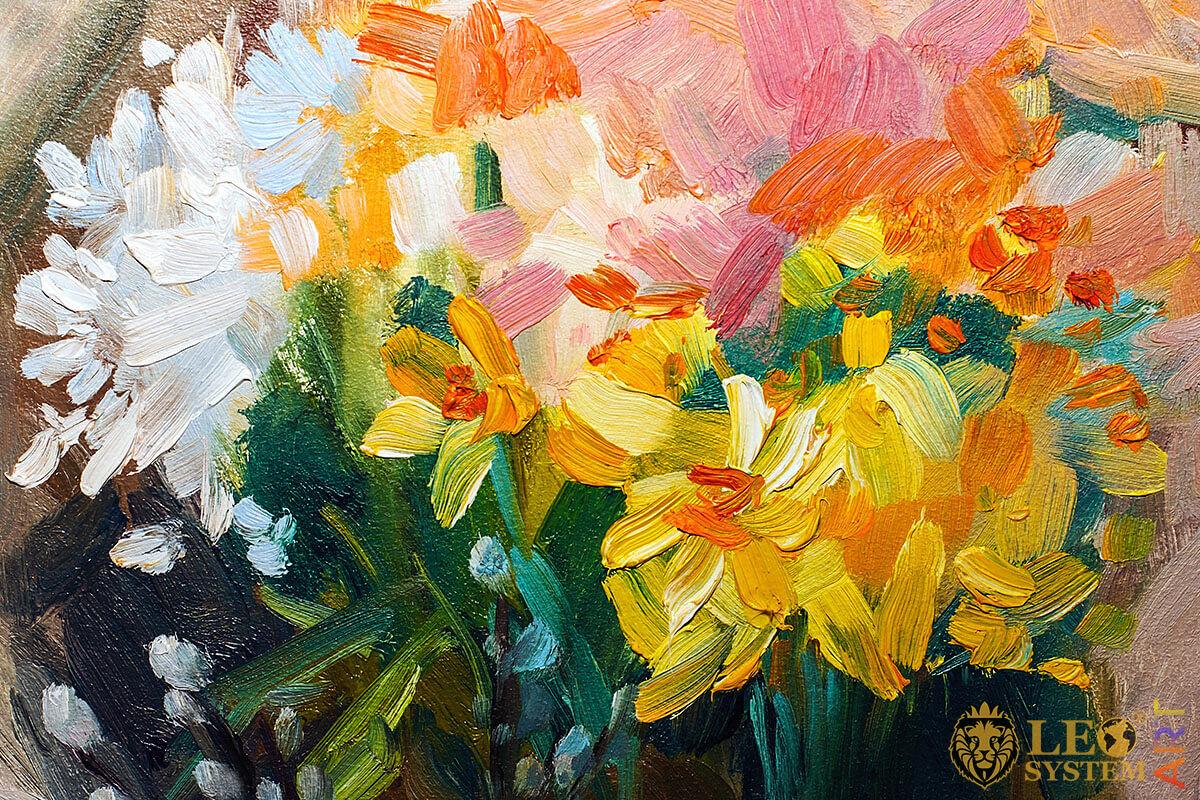 Bright floral still life, original oil painting