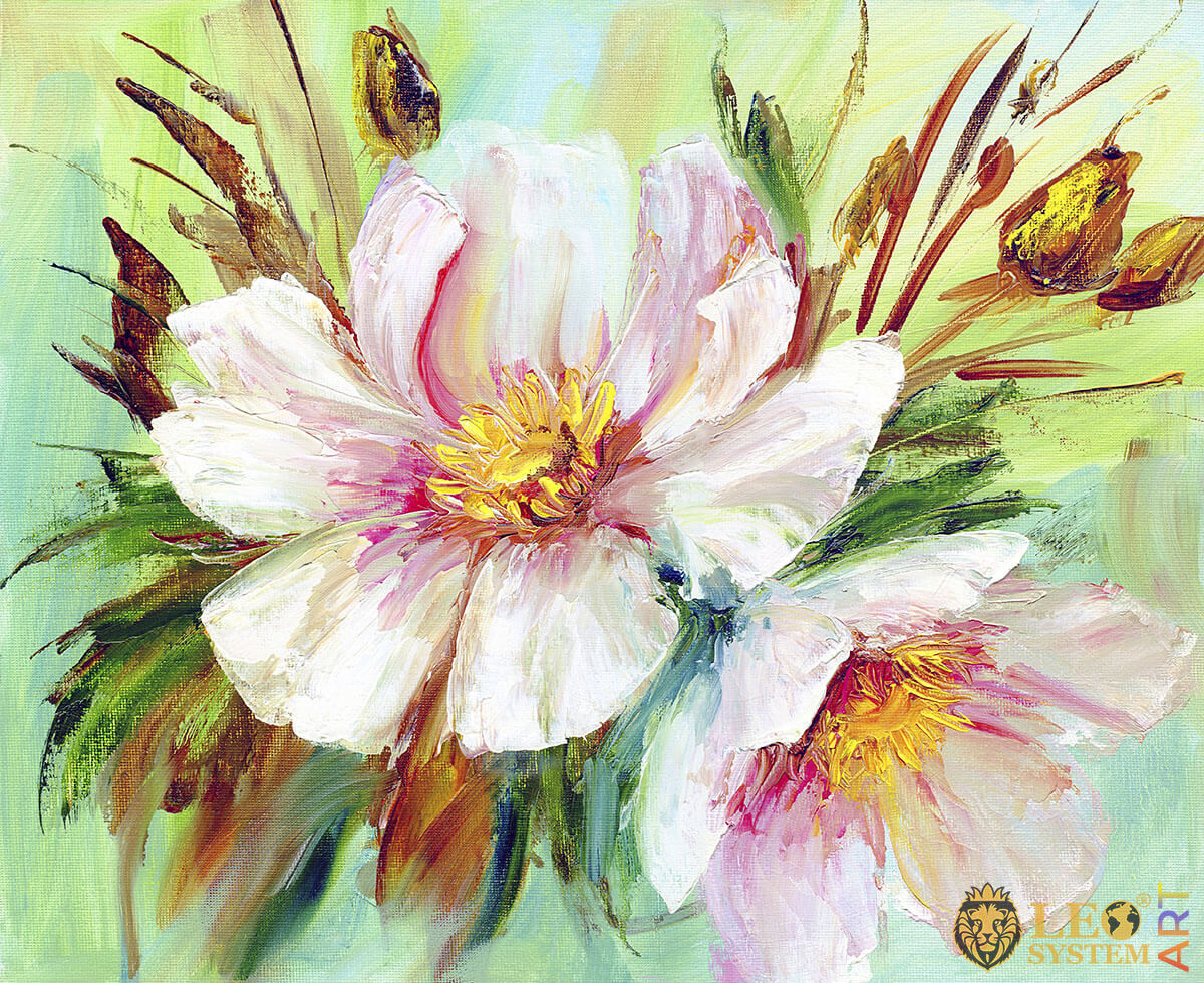 Original oil painting with gorgeous peony