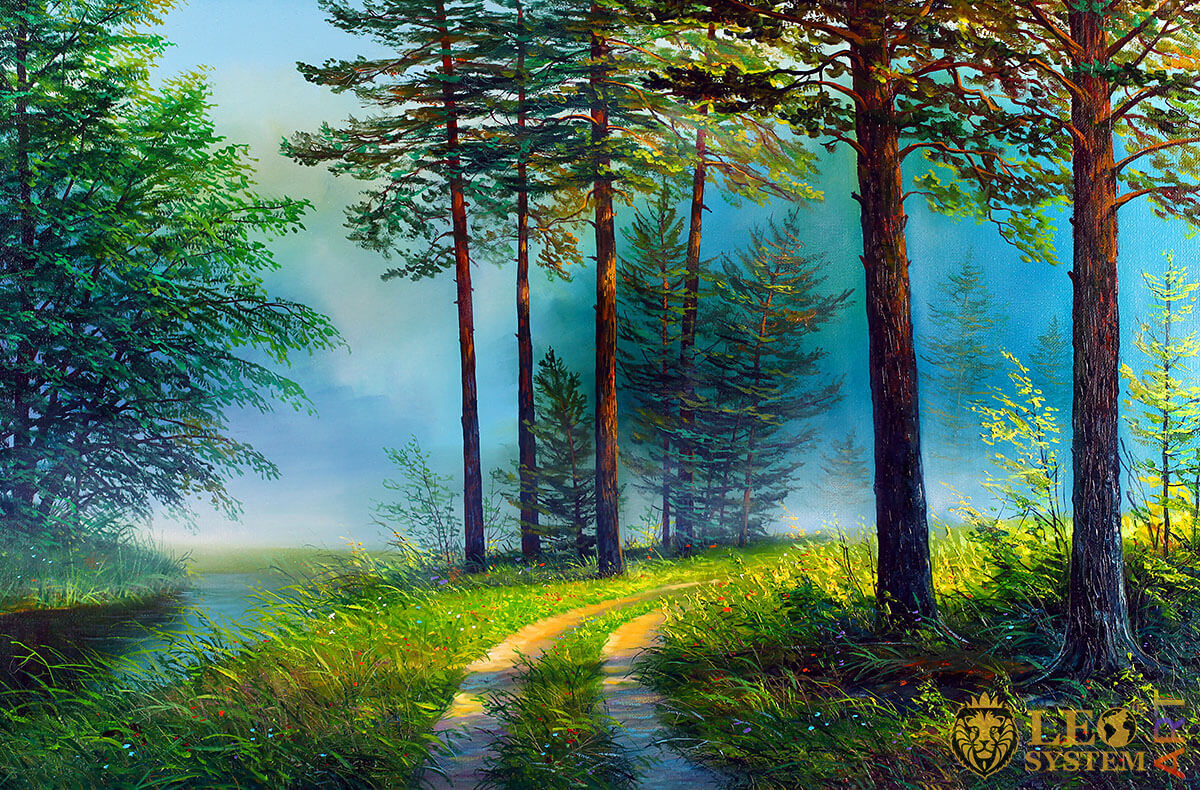 Painting with forest path and green grass