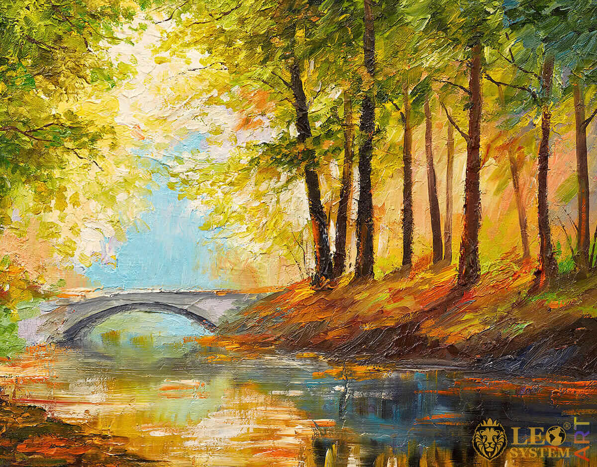 Trees and bridge in the forest, original painting