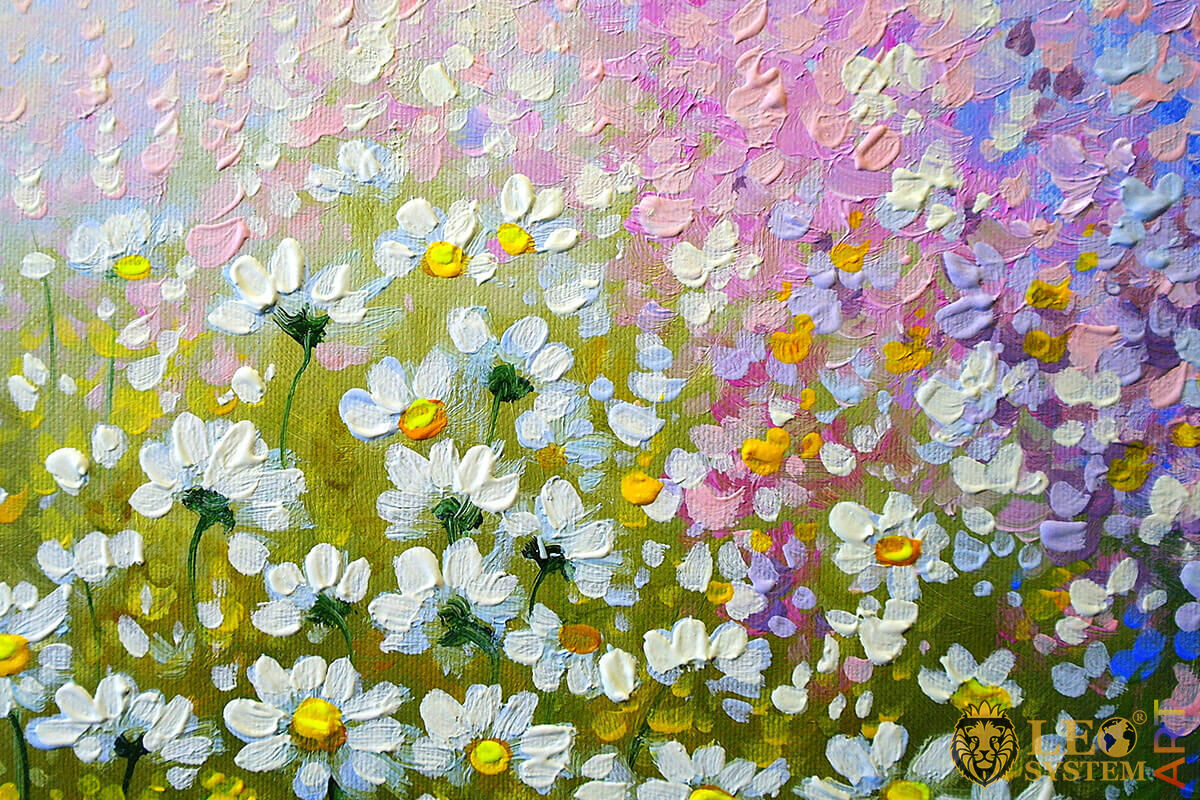 Painting with daisies in the field, original canvas