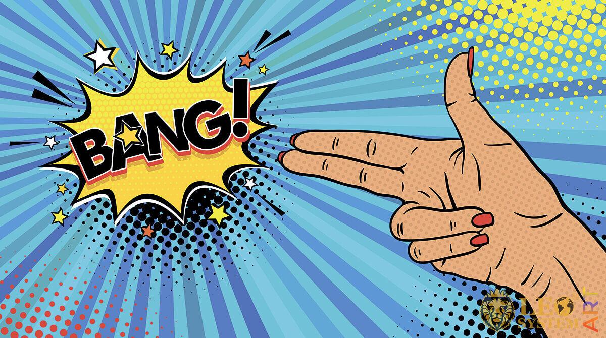 Woman's hand makes a Bang gesture
