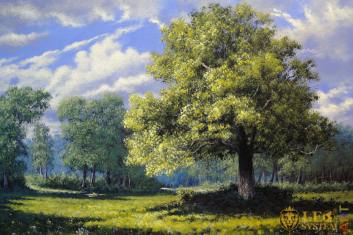 Oil painting on canvas beautiful forest landscape