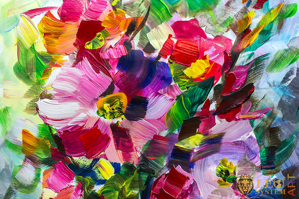 Painting with various bright flowers