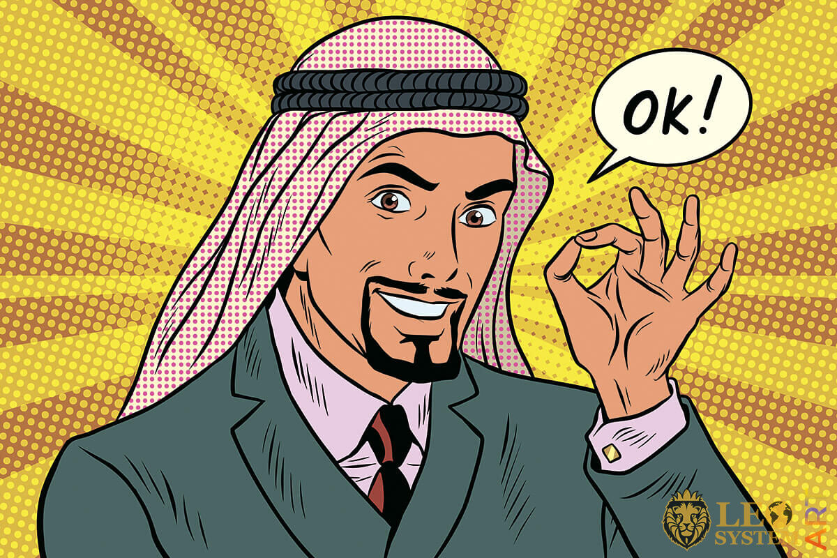 Arabic man shows a gesture that everything is fine