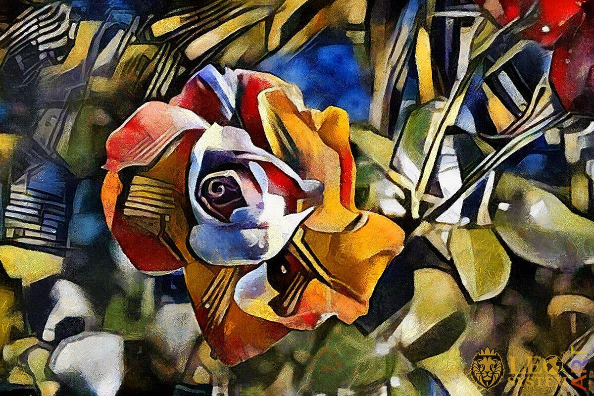 Multicolored flower arrangement, original painting