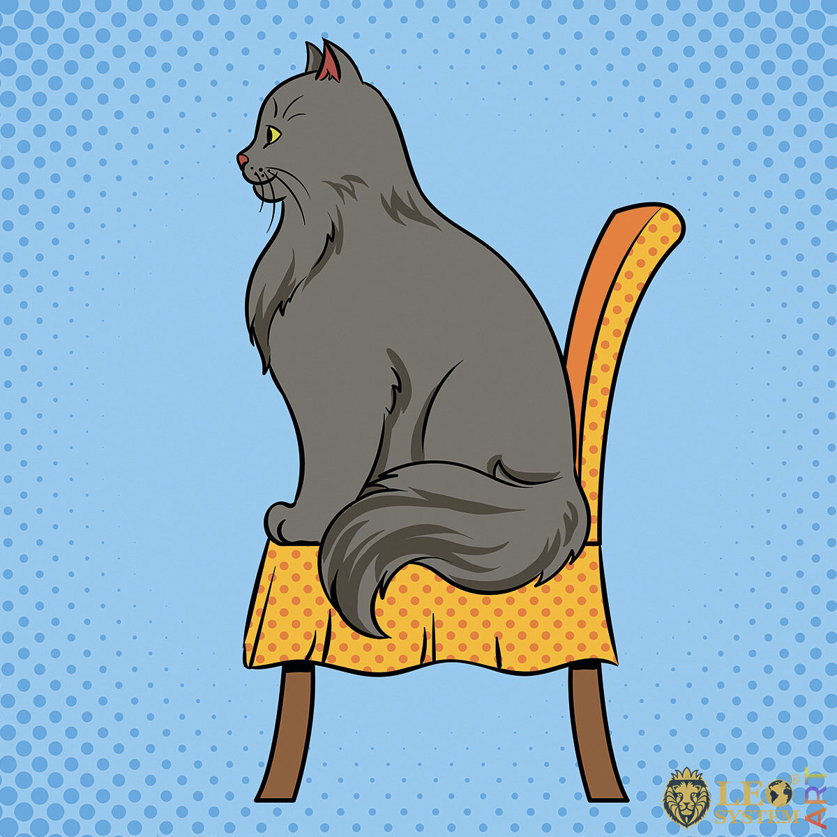 Beautiful cat sitting on a chair