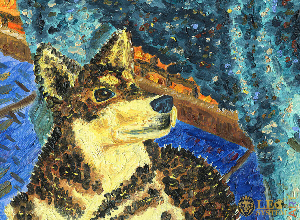 Original oil painting with puppy Alaskan Malamute