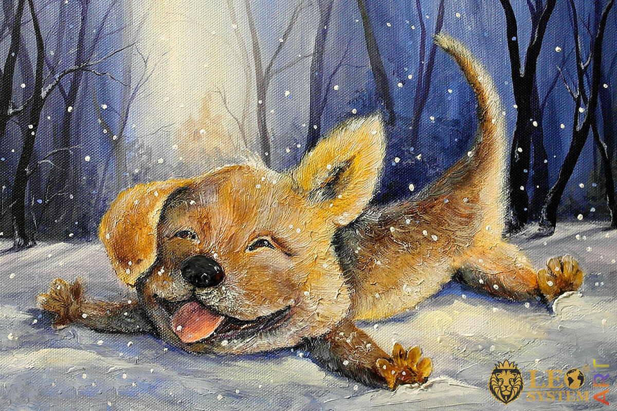 Oil painting funny dog lies in the snow