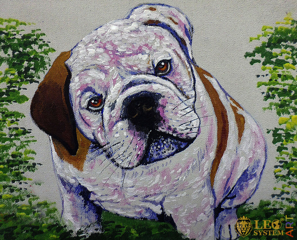 Oil painting with cute Bulldog