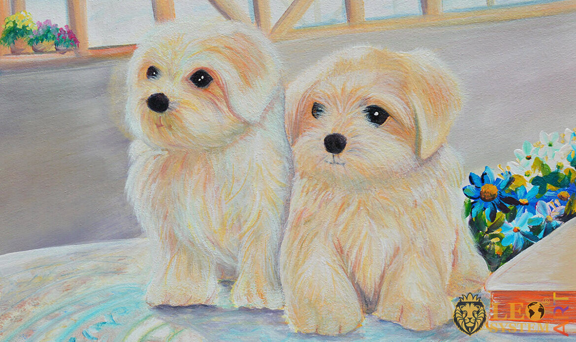 Cute oil painting with two white puppies